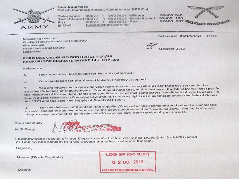 British Gurkhas official letter for the order of kukris