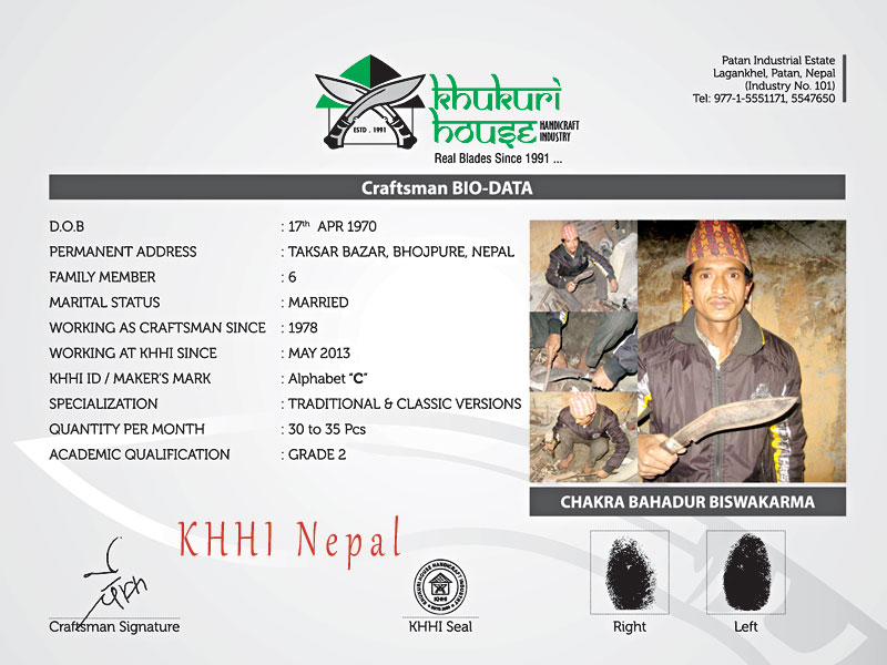 Chakra BK, a master maker of the Bhaktapure kukri