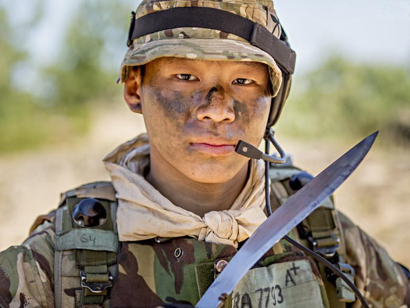 gurkha soldier posing with service khukuri