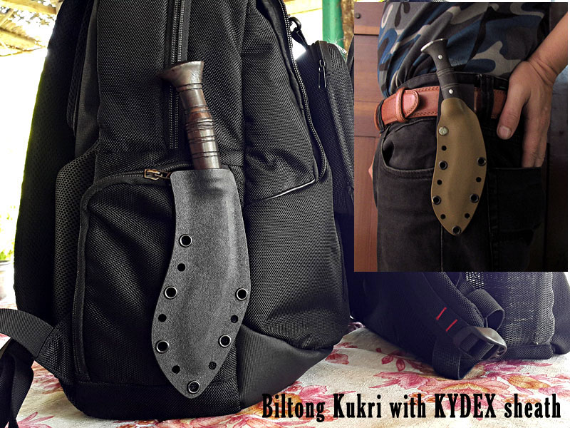Pocket kukri with Black and Green kydex sheaths