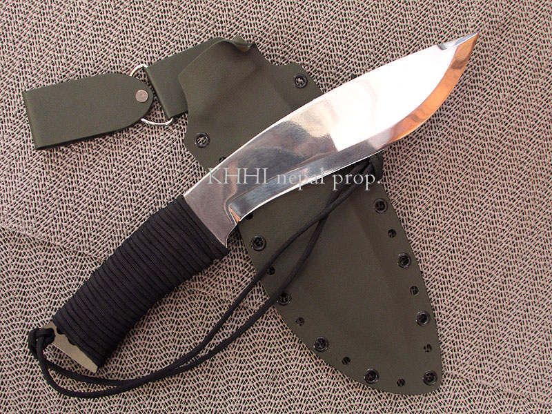 khukuri with kydex sheath and paracord wrapped handle
