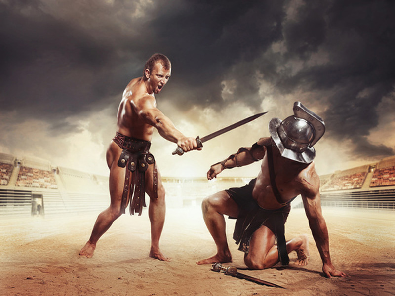 Gladiator at Battlefield with weaponry sword knife