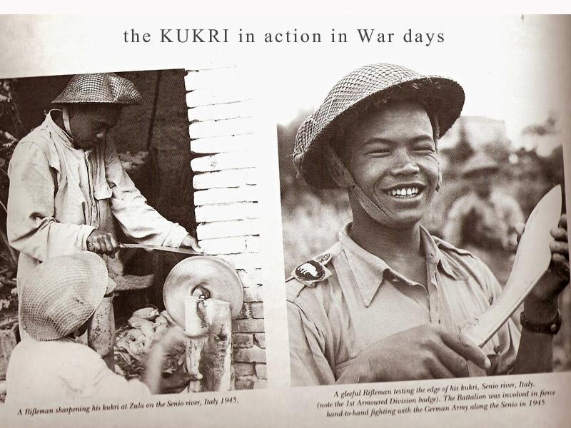 Gurkha soldiers with kukri knives