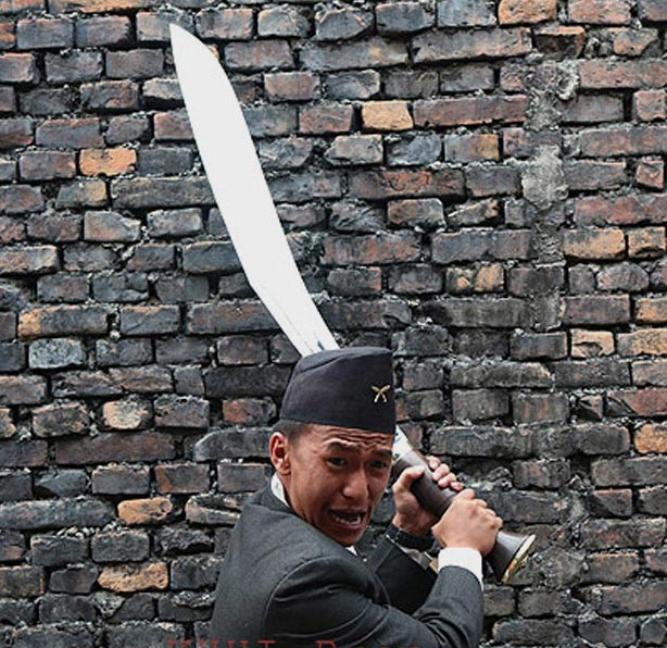 Gopal Limbu posing with BUFF HEAD Kukri